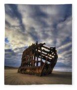 Peter Iredale Shipwreck Sunrise Fleece Blanket