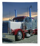 Peterbilt At The Beach  Fleece Blanket