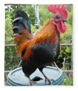 Petey The Old English Game Bantam Rooster Fleece Blanket