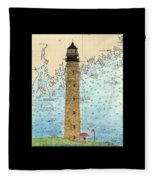 Petit Manan Island Lighthouse Me Nautical Chart Map Art Fleece Blanket