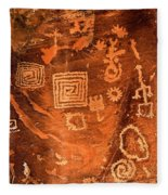 Petroglyph Symbols Fleece Blanket
