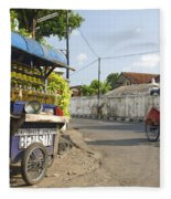 Petrol Stall And Cyclo Taxi In Solo City Indonesia Fleece Blanket
