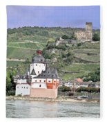 Pfalzgrafenstein With Burg Gutenfels  Fleece Blanket