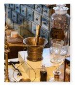 Pharmacist - Brass Mortar And Pestle Fleece Blanket