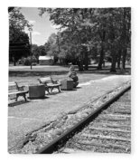 Phelps Ny Train Station In Black And White Fleece Blanket