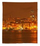 Philadelphia Across The Delaware Fleece Blanket