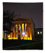 Philadelphia Art Museum  At Night From The Rear Fleece Blanket