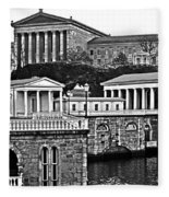 Philadelphia Art Museum At The Water Works In Black And White Fleece Blanket