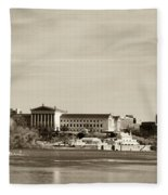 Philadelphia Art Museum With Cityscape In Sepia Fleece Blanket