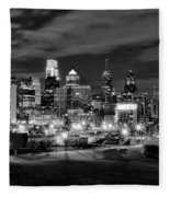 Philadelphia Black And White Cityscape Fleece Blanket