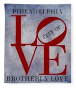 Philadelphia City Of Brotherly Love  Fleece Blanket