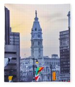 Philadelphia Cityhall In The Morning Fleece Blanket