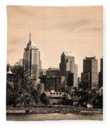 Philadelphia Cityscape In Sepia Fleece Blanket