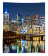 Philadelphia Cityscape Panorama By Night Fleece Blanket