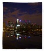 Philadelphia From South Street At Night Fleece Blanket