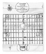 Philadelphia: Map, 1683 Fleece Blanket