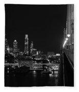 Philadelphia Night B/w Fleece Blanket