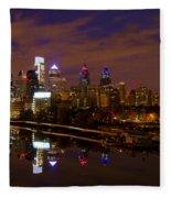 Philadelphia On The Schuylkill At Night Fleece Blanket