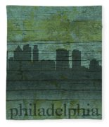 Philadelphia Pennsylvania Skyline Art On Distressed Wood Boards Fleece Blanket