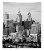 Philadelphia Skyline Black And White Bw Pano Fleece Blanket