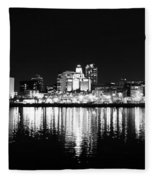 Philadelphia Skyline Panorama In Black And White Fleece Blanket