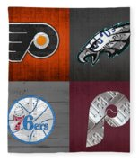 Philadelphia Sports Fan Recycled Vintage Pennsylvania License Plate Art Flyers Eagles 76ers Phillies Fleece Blanket