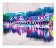 Philadelphia's Boathouse Row On The Schuylkill River Fleece Blanket
