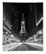 Philadephia City Hall -- Black And White Fleece Blanket