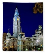 Philly City Hall At Night Fleece Blanket