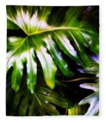 Philodendron Fleece Blanket by Matt Lindley