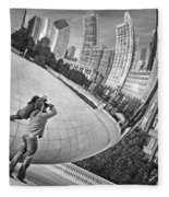 Photographing The Bean - Cloud Gate - Chicago Fleece Blanket