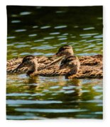 Photography Painting Of Mother And Her Ducklings Fleece Blanket