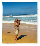 Photorgapher Near The Ocean Fleece Blanket