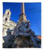 Piazza Navona Fountain Fleece Blanket