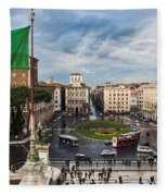 Piazza Venezia Fleece Blanket by John Wadleigh