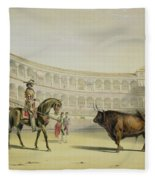 Picador Challenging The Bull, 1865 Fleece Blanket