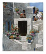 piccole case bianche di Grecia Fleece Blanket