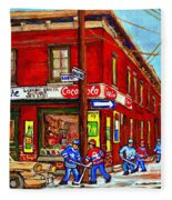 Piche's Grocery Store Bridge Street And Forfar Goosevillage Montreal Memories By Carole Spandau Fleece Blanket