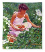 Picking Strawberries Fleece Blanket