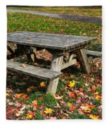 Picnic Table In Autumn Fleece Blanket