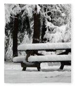 Picnic Table In The Snow Fleece Blanket
