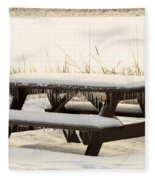 Picnic Table In Winter Fleece Blanket