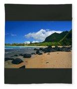 Picture Perfect Haena Beach Fleece Blanket