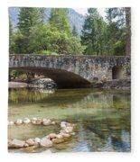 Picturesque Bridge In Yosemite Valley Fleece Blanket
