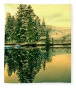 Picturesque Norway Landscape Fleece Blanket