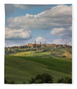 Pienza In The Afternoon Panorama Fleece Blanket