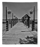 Pier At Fort Wilderness In Black And White Walt Disney World Fleece Blanket