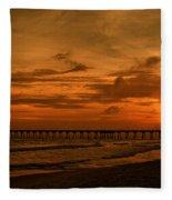 Pier At Sunset Fleece Blanket