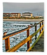Pier Fishing 2 Fleece Blanket