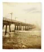 Pier In A Storm Fleece Blanket